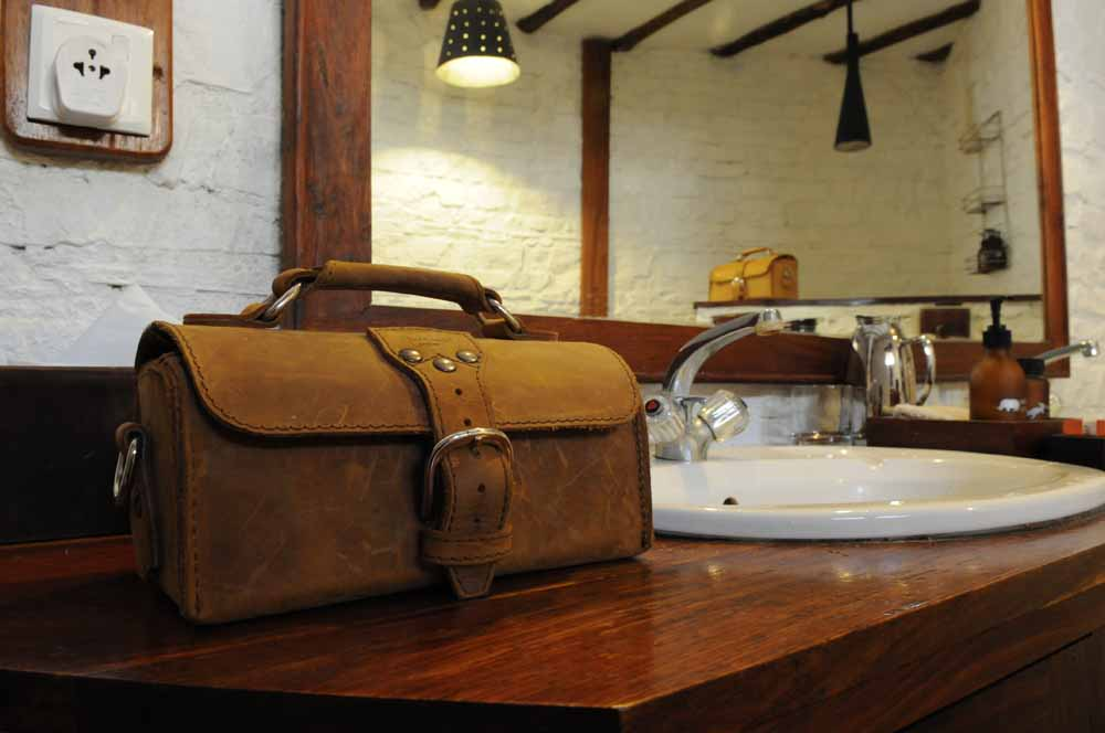 leather travel case in our African bathroom