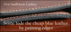 Cheap leather with painted edges