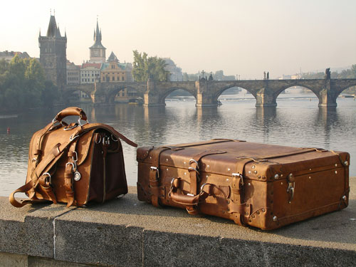 Prague picture of Saddleback leather briefcase and suitcase