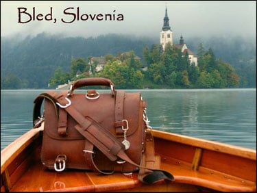 Saddleback Leather bag in Bled Slovenia