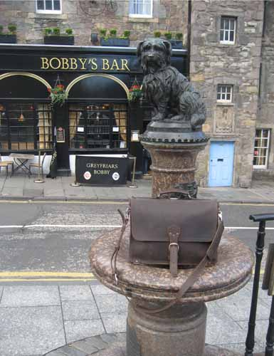 leather briefcase with Greyfriar's Bobby
