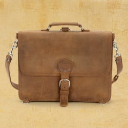 Thin Briefcase - Large, Tobacco (25% Discount)