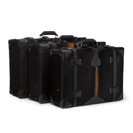 Hair-on Suitcase Collection - Black with Black leather accent