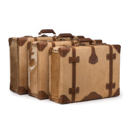Hair-on Suitcase Collection - Palomino with Tobacco leather accent