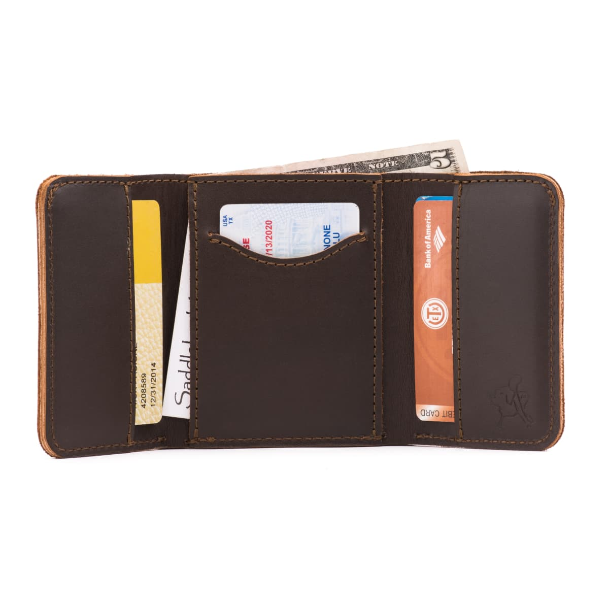 Leather Trifold Wallet - Dark Coffee Brown (25% Discount)