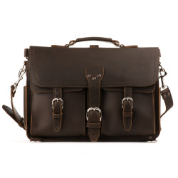 Front Pocket Leather Briefcase - Large, Dark Coffee Brown (15% Discount)