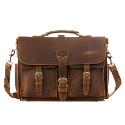 Front Pocket Leather Briefcase - Large, Tobacco (15% Discount)
